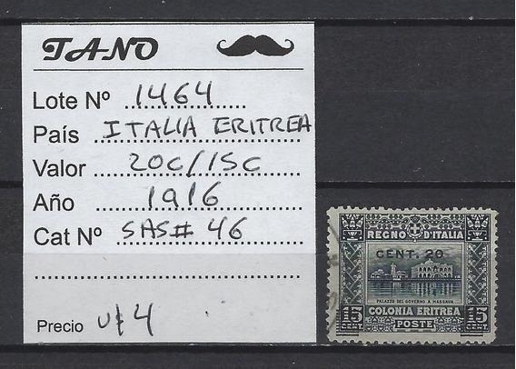 Lote1464 Italia Eritrea 20c/15 Cent Año 1916 Sasonne# 46