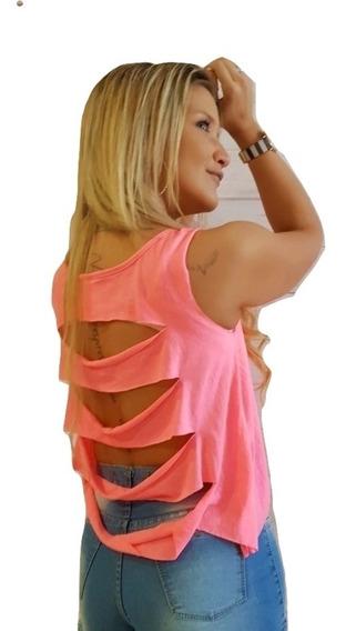 Musculosa Mujer Fluo Roturas En Espalda Verano 2020