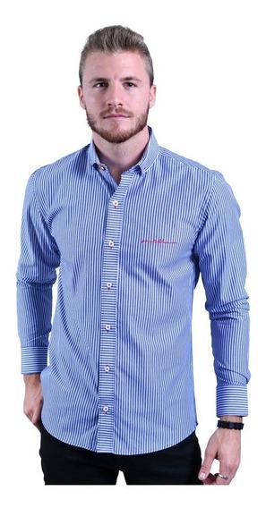Porto Blanco Camisa Casual Caballer Algodón Rayas Azul C-686