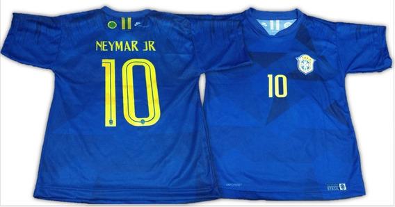 Camisa Do Neymar Seleção Brasileira Top Infantil