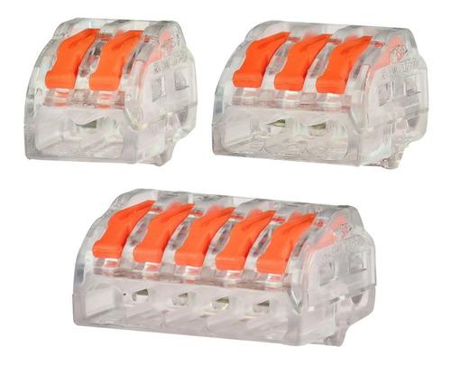 80x  Conector Tipo Wago 222 Borne Emenda Fios 2, 3 E 5 Vias