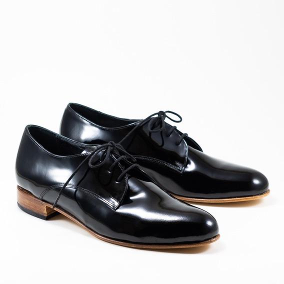 Zapato Abotinado De Charol De Mujer- Bygint: Prusia Negro