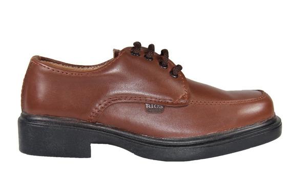 Zapato Colegial Rios De Cuero Con Cordones Marón 27 A 33.
