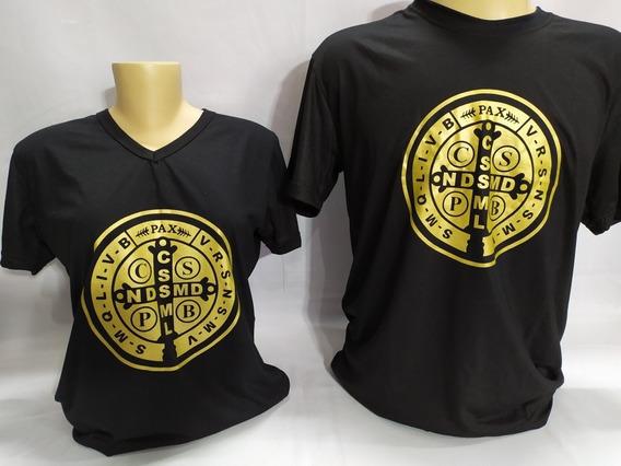 Camiseta Medalha De São Bento Com Oração Cd De Brinde