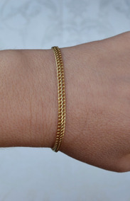 Pulseira Lacraia Ouro 18k; 18,5 Cm; 1,9 Gramas; 4 Mm Espessu