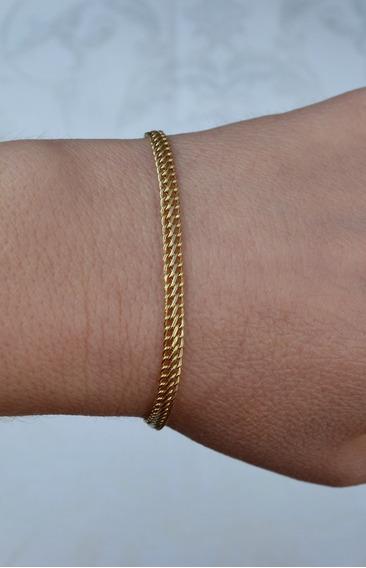Pulseira Modelo Lacraia Ouro 18k, 4 Mm Espessura