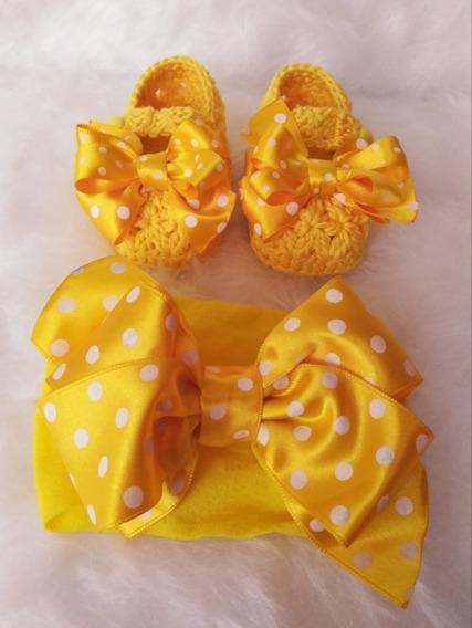 Zapatos Tejidos De Bebé Amarillos Con Tiara Moño