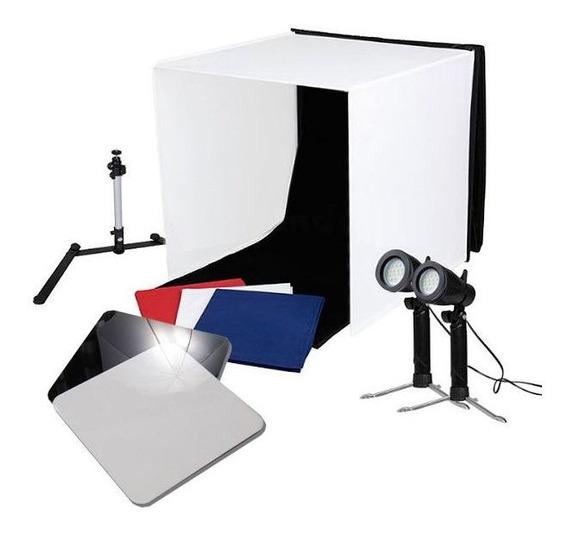 Mini Estúdio Fotográfico Led 60cm 2x5w C/placa Reflexão