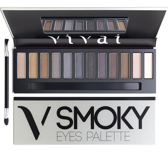 Paleta 12 Sombras Maquiagem + Pincel Vivai Smoky 2177