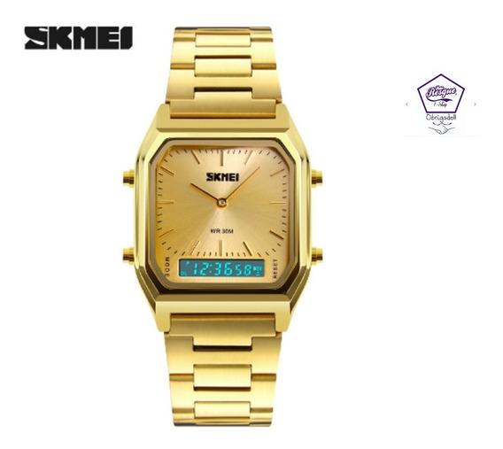 Relógio Skmei 1220 Social Prova Dágua Dourado