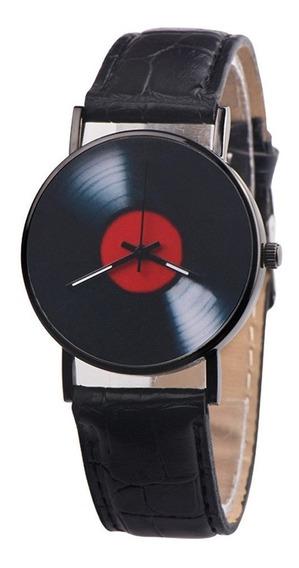 Reloj Casual Para Hombre Joven Moderno Negro Tipo Piel