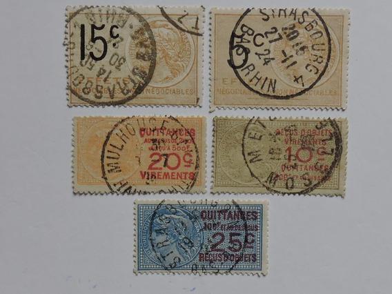 França 5 Selos Fiscais 1920 -25