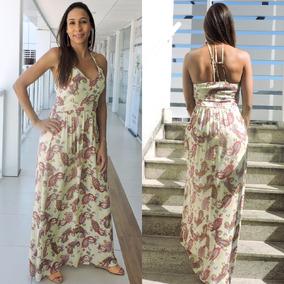 Vestido Longo Estampado Feminino Alça Verão 2019 Modinha