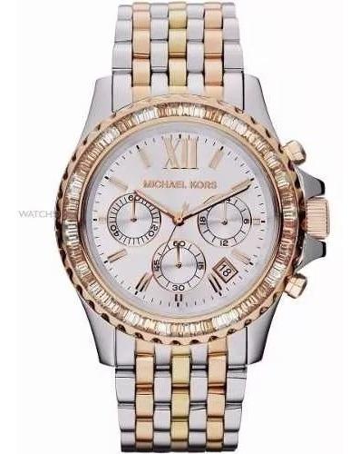 Relógio Xj5550 Michael Kors Mk5876 Misto Rose Prata Dourado