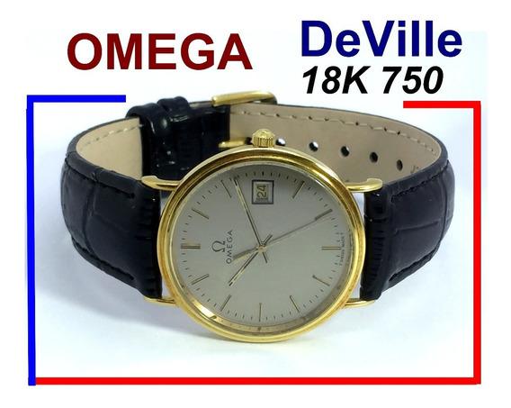 Luxuoso Omega De Ville Ouro 18k 750 Maciço Quartz Extra-slim