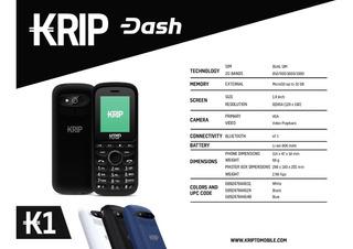 Krip K1 2g 1.8 Inch 800 Mah Camara Vga Dual Sim Negro