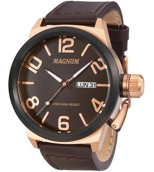 Relógio Magnum Masculino Ma33399z Rose Couro Marrom