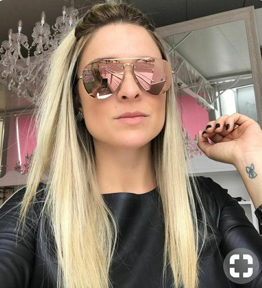 Óculos Oval Espelhado Redondo Rosa Pínk Luxo Blogueiras Moda