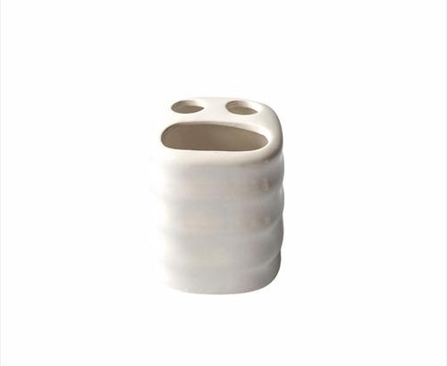 Portacepillos Con Fallas De Ceramica Blanco Noi