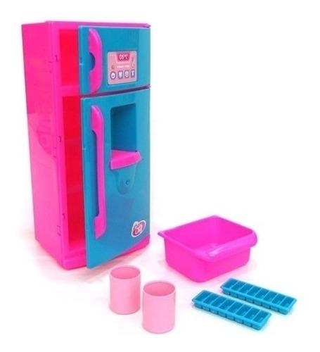 Geladeira Infantil De Brinquedo Com Som E Luz Menina Cozinha