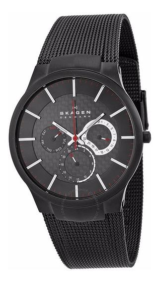 Relógio Skagen Slimline Titanium Preto Multifunções 809xltbb