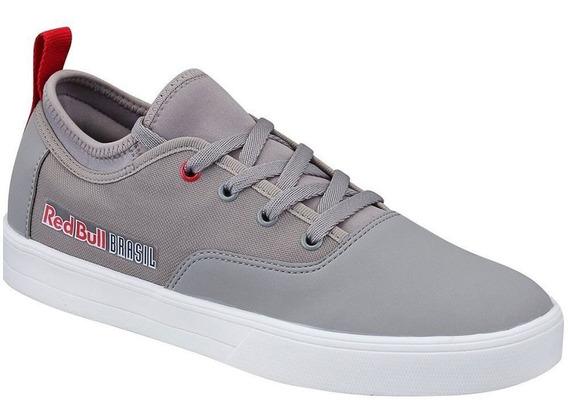 Tênis Grey White Linz Skt Cinza Couro Sintético Red Bull