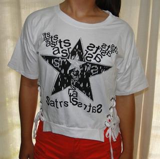Camiseta Tshirt Cropped Ilhós Dos Lados