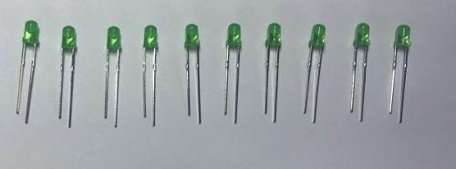 Led Simples 3mm Verde Kit C/10 Peças.