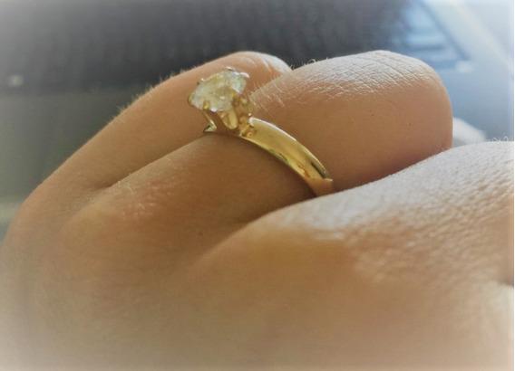 Anel Folheado A Ouro 18k Com Pedra De Brilhante - Gjfoap804