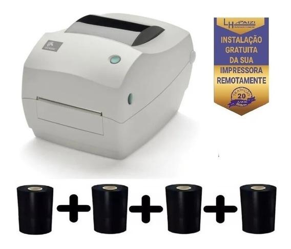 Impressora De Etiquetas Gc420t Termica Zebra + 4 Ribbon Cera