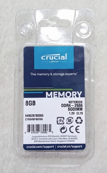 Memoria Ram 8gb Ddr4 2666 Mt/s (pc4-21300) 260 Pines