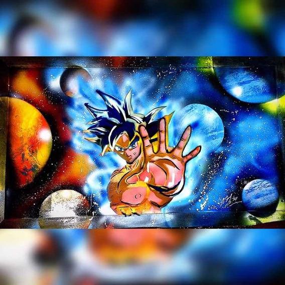 Cuadro De Goku Pintado A Mano , Con Técnica Haerospray ..