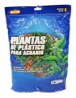 6 Plantas Plástico Acuario 30cm Surtidas Decoración Lomas