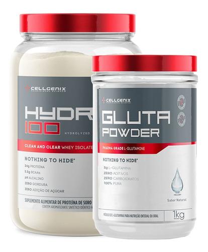 Kit Hydro 100 Whey Isolado 900gr + Glutamina 1kg - Cellgenix