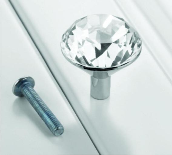 Puxador Cristal Vidro Lapidado Cromado Com 4 Unidades