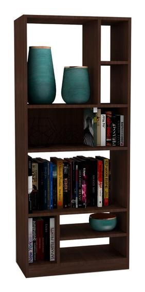 Mueble Librero Castaño Con Cubos Y Repisas Be 840-164
