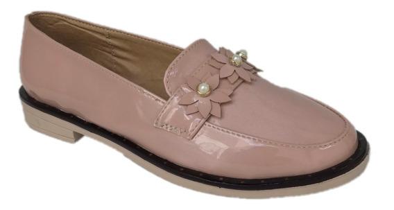 Zapato Mocasín Choclo Mujer Casual Mu 1204 Rosa Brillante