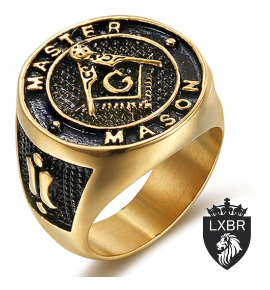 Anel Ouro 18k Inox Masculino Maçonaria Mason Maçon Brasão Illuminati Hip Hop Metal Punk Moto Hip Hop Dourado Lxbr A169