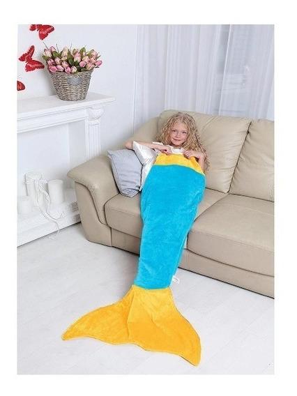 Manta Cobertor Infantil Saco De Dormir Buettner Sereia Azul