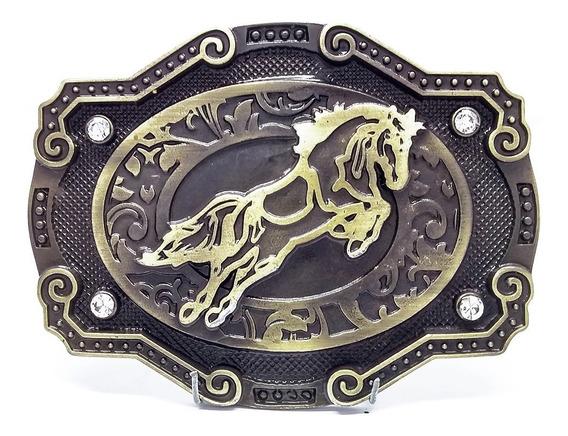 Fivela Country Cavalo Ouro Com Strass P Cinto - Lançamento!