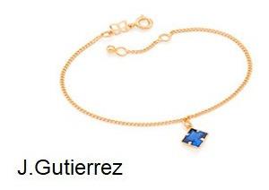 Pulseira Rommanel Fio Grumet C/ Carrê Quadrada Azul (551596)