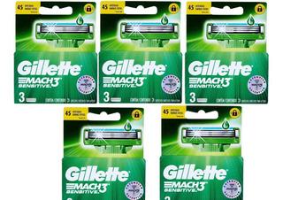 5 Cxs Carga Gillette Mach 3 (com 3 Cartuchos Cada)