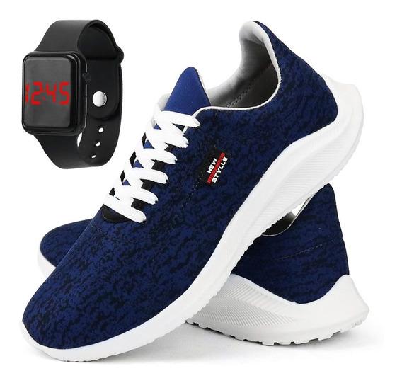 Tênis Sapato Casual R. Artigos Com Relógio Moderno