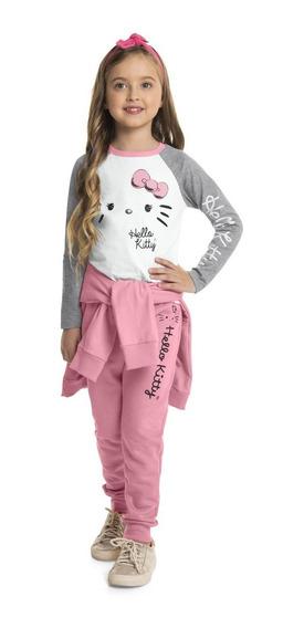 Blusa Infantil Manga Longa Estampada Hello Kitty