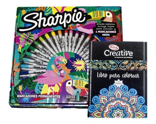 Sharpie Jungla 30 Marcadores + Libro Para Colorear Adix