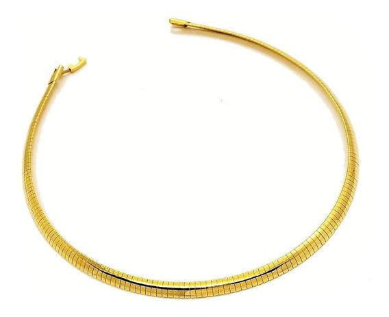 Gargantilha Fita Aro De Pescoço 6mm Banho De Ouro 18k 4602