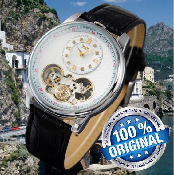 Lançamento Top Luxo Relogio Turbilhao Jaragar Couro Preto Fundo Branco Automatico Exclusivo Frete Gratis R70b Lxbr