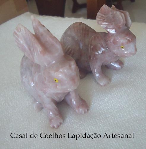 Casal Coelho De Pedra Natural 9,3x3,62x3,62cm Frete Grátis-