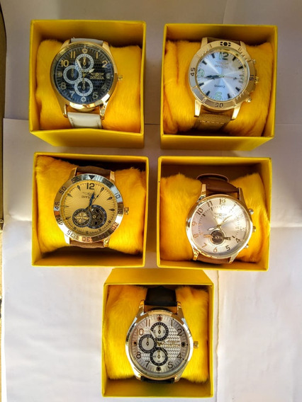 Kit C/10 Relógios Masculinos Dourado Couro Atacado Revenda
