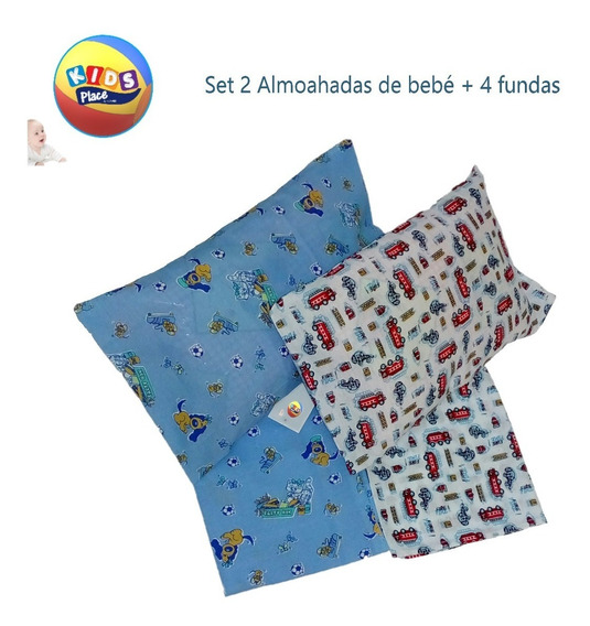 Set 2 Almohadas + 4 Fundas Bebes Niños Niñas
